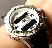 Wholesale digital watch blue lcd - Brand Aerospace Exospace B55 E793637V White Dial Electronic & Analog LCD Digital Display Mens Watch Silver Caes Leather Strap Gents Watches