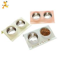 essen wasser schüsseln für katzen großhandel-Hunde Haustiere Haustier Suppliespets Hunde Edelstahl Haustiere Puppy Hunde Katzen Automatische Wasser Trinken Fütterung Basin Food Bowls