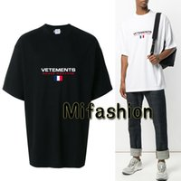 Wholesale Haute Couture - Unisex 18SS Summer Fashion Vetements Oversized T shirt Embroidery France Flag Hip Hop Haute Couture Tshirt Tee Top