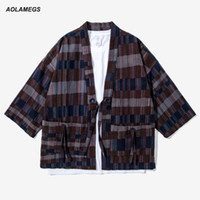 Wholesale Japan Style Kimono - Aolamegs Men Kimono Jacket Japan Style Mixed Color Plaid Kimonos Shirts Fashion Streetwear Kanye west Harajuku Cardigan Outwear