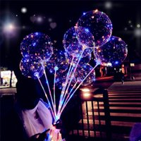 Wholesale Christmas Decorations Led Lights - Led BOBO Balloon Wedding Decorations Birthday Party Kid Toy Light Up Balloons Stick Parties Decoration Christmas Holiday Weddings Supply
