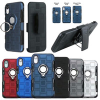qualidade do clipe do iphone venda por atacado-Para iphone xr xs max x 8 7 além de suporte do anel defensor magnético pc holster clipe de cinto case de alta qualidade