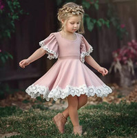 Wholesale pretty sweet - INS Girls Flower Lace Dresses for Baby Girl Children Dresses Pretty Fashion Lace Princess Dress Cotton Blend Short Sleeve Dress Sweet Pink B