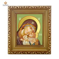 Wholesale Paint Wood Frames - Photo frame russian Orthodox Church lcon of virgin mary and jesus wood craft Christian picture byzantine gifts religious art