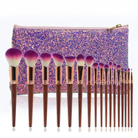 Wholesale bamboo makeup free shipping resale online - High Quality Custom LOGO Glitter Make Up Brushes Professional Wood Handle Bamboo Makeup Brush Set wood handle dhl