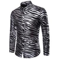 zebra-druckhemd männer großhandel-AIOPESON 2018 Neue Sommerhemd Mens Zebra Print Slim Fit Langarm Casual Mens Dress Shirt Einreiher Männer