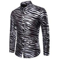 zebra baskılı erkek gömlek erkek toptan satış-AIOPESON 2018 Yeni Yaz gömlek Erkek Zebra Baskı Slim Fit Uzun Kollu Casual Erkek Elbise Gömlek Tek Göğüslü Erkekler