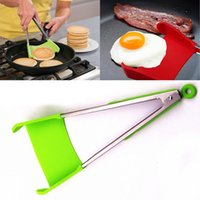 Wholesale Kitchen Spatula Stainless Steel - 2-in-1 Clever Spatula Tong Kitchen Spatula Tongs Non-stick Heat Resistant Food Clip Grip Stainless Steel Accessories Free DHL WX9-451