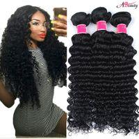 doğal derin kıvırcık örgü saç toptan satış-8A Brezilyalı Derin Dalga Saç Paketler Işlenmemiş Brezilyalı Kıvırcık Remy İnsan Saç Örgüleri Doğal Siyah Brezilyalı Bakire Saç Derin Dalga