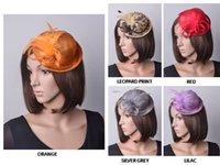 senhoras casamento venda por atacado-Chapéu formal do mini chapéu do fascinator do sinamay das senhoras com as penas para o partido do derby do casamento.
