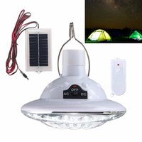 Wholesale Solar Power Camping Lights - Outdoor 22 LED Solar Powered Yard Hiking Tent Light Camping Hanging Lamp With 3.7 v   1 w Remote Control Pure White Solar panel