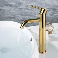 kunstbadezimmer sinkt großhandel-Goldene farbe waschbecken mischbatterie deck montiert gold wassermischer tapware runde art 2 höhe für unter theke
