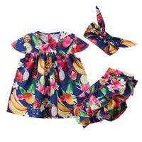 ingrosso camicia da bambino-Neonate Top Dress Blouse Ruffle Bottoms Shorts Ruffles Cute Clothes Set 3pcs Neonato Toddler Baby Girl Abbigliamento 0-24M