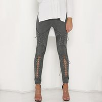 Wholesale Sexy Black Women Leather Pants - 2017 New Women Sexy Bandage Legging Pants Lace-Up Women's Pants Suede Leather Pencil Lace Up Cut Out Fashion Trousers