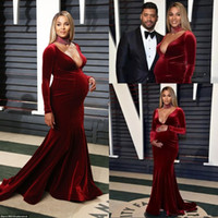 Wholesale pregnant evening wear - 2018 Elegant Velvet Mermaid Evening Dresses Sexy Deep V Neck Long Sleeves Prom Gowns Pregnant Dress Red Carpet Celebrity Wear