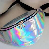 köpüklü çanta toptan satış-30 * 16 cm Bel Paketi Unisex Metalik Gümüş Fanny Bel Çantası Göğüs Paketi Sparkle Festivali Hologram Çantası Bel Çantası