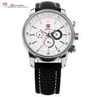 ангелы даты оптовых-Pacific Angel Shark Sport Watch Men's White Date Day Fashion Casual Men Wristwatch Black Leather Strap Quartz Clock Male / SH093
