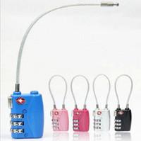 güvenlik kodlaması toptan satış-TSA Sıfırlanabilir 3 Haneli Kombinasyon Kablo Kilidi-Seyahat Bagaj Bavul Kod Metal Asma Kilit Güvenlik için Okul Spor Salonu Soyunma 50 adet