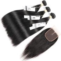frete grátis fechamento cabelo humano venda por atacado-Feixes de cabelo Indiano com Fechamento Cabelo Liso Malaio 3 Pacotes com Fecho de Renda 100% Feixes de Cabelo Humano Frete Grátis Parte Do Meio