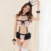 babydoll blanco ver a través al por mayor-Blanco y negro Bunny Girl Cospaly Babydoll Uniforme atractivo ver a través de encaje Chica de conejo Juego de rol Ropa interior erótica Maid Party Suit