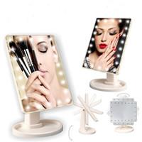 touchscreenlampe großhandel-Justierbarer großer 22 LED beleuchteter Kosmetikspiegel-Screen Portable, der Eitelkeit Tischplatte-Lampen-Kosmetik-Spiegel 360 dreht, der Dhl frei dreht