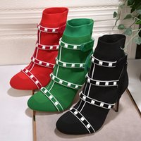 Wholesale Thin Ankle Toe Socks - 2018 sexy red green Elastic Ankle Boots for Women High Heels Knitted white rivets studded stretch sock shoes women chaussure femme