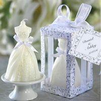elegante weiße partydekor großhandel-Heißer Verkauf 2018 neue Mode kreative weiße elegante Boxed Braut Brautkleid Kleid Design Kerze Hochzeit Party Decor