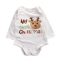 niedliche junge onesies groihandel-Mein erster Weihnachtsbaby-Baumwollspielanzug Rentiere -onesies Langarm-Brief druckt Overall Bodysuit netten neugeborenes Baby Mädchen Kleidung