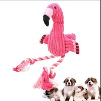 Wholesale tooth doll - Flamingo Shape Pet Cat Dog Squeaky Teeth Clean Toys Puppy Training IQ Interactive Plush Doll Toys Puppy Squeaky Sound Toys KKA5051