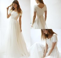 Wholesale white fitted short wedding dresses for sale - Group buy Simple Spring Bohemian Lace Wedding Dresses V Neck Arabic Fitted Summer Country Plus Size vestido de noiva Bridal Gown Ball For Bride