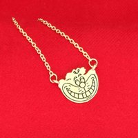 Wholesale Cat Face Necklace - Alice In Wonderland Cheshire cat Necklace Gold smile face pendants for women kids fashion jewelry Christmas gift drop shipping BY DHL 160639