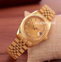 Wholesale green metal watch - Fashion womens watch gold watches men luxury brand top designer casual leather diamond dial automatic day date calendar metal steel clock