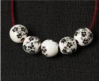 porzellan perlen blumen großhandel-100 teile / los Blumendruck Porzellan Runde Perlen 10mm Handwerk Keramik Charme Spacer DIY Schmuck Machen Perlen