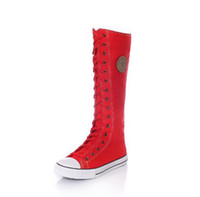 Wholesale Knee High Canvas Boots - Fashion Girl's Canvas Shoes Boots Women Knee High Canvas Shoes Big Size 35-43 White Black Red Hand Painted Candy Color Booty