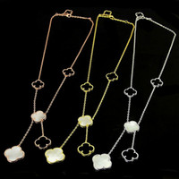 Wholesale white mother pearl shell necklace resale online - New Four Leaf Clover Flower Collars Jewelry For Women Long Pendant Necklace Black White Mother Shell Pearl Pendant Dropshipping