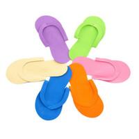 zapatillas de espuma de spa al por mayor-mezclar colores EVA desechables Slipper Foam Salon Spa hotel Slipper Tanga de pedicura Zapatillas Zapatillas Flip Flops