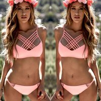 Wholesale Contrast Ties - 2018 New Women Solid Bikini Set Sexy Tie Dye Swimwear Pink Crop Top 2 Colors High Neck Bikini With Padded String Caged Swimsuit