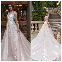 Wholesale ladies formal wear fashion - 2018 New Fashion A-Line Lace Appliques Wedding Dresses Tulle Chapel Train Bridal Gowns Modest Formal Wedding Wear Ladies Customized