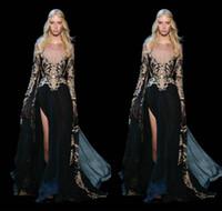 elie saab uzun kollu siyah elbise toptan satış-2018 Elie Saab Art Deco Gelinlik Modelleri Jewel Dantel Aplikler Illusion Ön Bölünmüş Sashes Siyah Vestidos de fiesta Uzun Kollu abiye