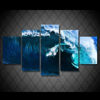 ingrosso pitture astratte onde-Home Decoration Stampa Abstract Wall Artwork HD Framework 5 Pannello Rolling Wave Paesaggio Canvas Quadri Modern Modular Pictures