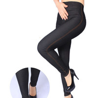 Wholesale spandex womens plus clothing for sale - pantalones gimnasio mujer Faux Denim Women Leggings Joggers Womens Pants Women Clothing Plus Size XL Womens Trousers quality