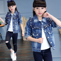 Wholesale girls double breasted jacket for sale - Fashion Big kids denim jacket girls beaded ruffle double pocket jean outwear children lapel single breasted long sleeve cowboy coat F1054
