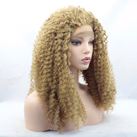 Wholesale Medium Length Blonde Wigs - Blonde Afro Kinky Curly Wig Middle Part Afro Curly Synthetic Hair Front Lace Wigs For Women Medium Length Heat Resistant Hair(Blonde)