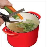 sharp knives kitchen al por mayor-Cortador Inteligente 2 en 1 Cuchillo de Cocina Multifunción Tijeras de Cocina Cuchillo de Hoja Afilada de Acero Inoxidable Cortador de Corte Para Carne de Alimentos Nuevo