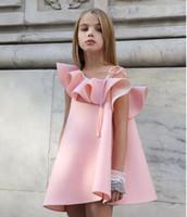 Wholesale tutu dress one shoulder - Summer kids one shoulder girls falbala party dress child kids princess dress kids girls fashion dress top quality