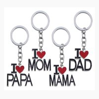 Wholesale new love romantic rings resale online - New I love mom dad papa mama heart trinket keychain Family rucksack buckle car key ring Fathers mothers day key chains locksmith