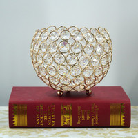 Wholesale wholesale votive candles holders - Gold Crystal Ball Votive Candle Holders Mosaic Crack Candlestick Home Decor Dinner Wedding Party Gifts Bar Decoration No Candle WX9-321
