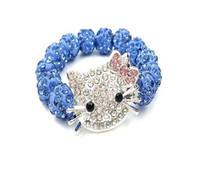 kitty katze perlen großhandel-Großhandel Kristall Strass Candy Farbe Perlen Armband Rosa Kitty Cat Mädchen Perlen Armband Schmuck Zubehör Geschenke für Kinder