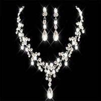 Wholesale necklace water pearls online - 2018 Korean Style Earring Necklace Set Cheap Hot Sale Sparkling Rhinestone Crystasl Flower Pierced Earclip Bridal Party Bridal Jewelry