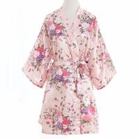 vestidos de noche de las señoras al por mayor-Más el tamaño de moda para mujer de verano Kimono noche corta bata de baño vestido de novia de dama de honor de las mujeres de color rosa vestido de novia S1015